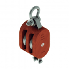 16 in. Extra Heavy Wood Shell Block Double Sheave - WLL 19000 lb - Anchor Shackle - 2 in. Manilla Rope