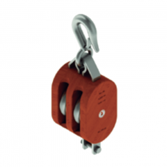 12 in. Regular Wood Shell Block Double Sheave - WLL 8000 lb - Hook w/Latch - 1-1/4 in. Manilla Rope