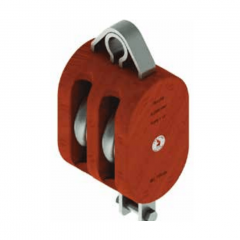12 in. Regular Wood Shell Block Double Sheave - WLL 8000 lb - No-Fitting - 1-1/4 in. Manilla Rope