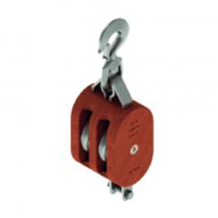 12 in. Regular Wood Shell Block Double Sheave - WLL 8000 lb - Swivel Hook w/Latch - 1-1/4 in. Manilla Rope