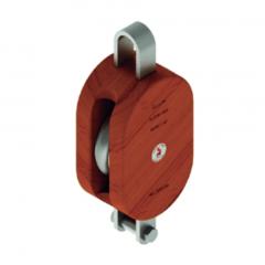 12 in. Regular Wood Shell Block Single Sheave - WLL 5000 lb - No-Fitting - 1-1/4 in. Manilla Rope