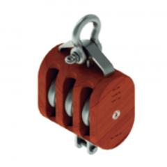 12 in. Regular Wood Shell Block Triple Sheave - WLL 10000 lb - Anchor Shackle - 1-1/4 in. Manilla Rope