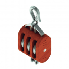 12 in. Regular Wood Shell Block Triple Sheave - WLL 10000 lb - Hook w/Latch - 1-1/4 in. Manilla Rope