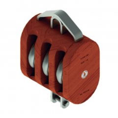 12 in. Regular Wood Shell Block Triple Sheave - WLL 10000 lb - No-Fitting - 1-1/4 in. Manilla Rope