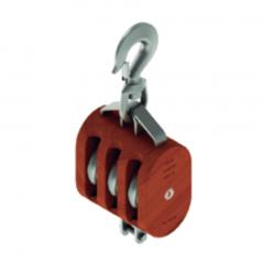 12 in. Regular Wood Shell Block Triple Sheave - WLL 10000 lb - Swivel Hook w/Latch - 1-1/4 in. Manilla Rope