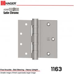 Hager 1163 5 US26D Half Surface Hinge Stock No 004321
