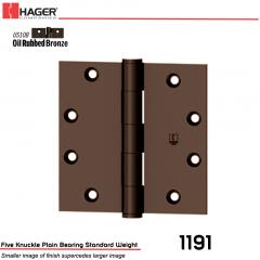 Hager 1191 5 x 5 US10B Full Mortise Hinge Stock No 006741