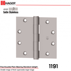 Hager 1191 4 x 4 US32D Full Mortise Hinge Stock No 005556
