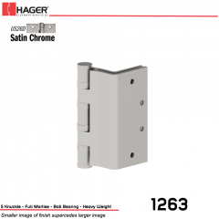 Hager 1263 5 US26D Full Mortise Hinge Stock No 008229