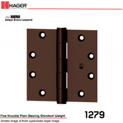 Hager 1279 4 x 4 US10A Full Mortise Hinge Stock No 011064