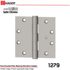 Hager 1279 4 x 4 US26D Full Mortise Hinge Stock No 011086