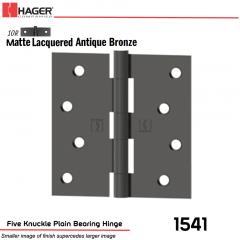 Hager 1541 US10R Full Mortise Hinge Stock No 033204