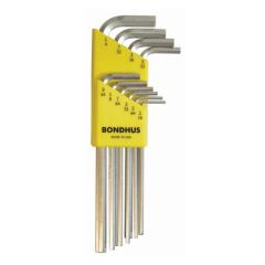 Bondhus Hex End Long Arm L-Wrench SAE 10pc Set (HLX10B) Chrome finish