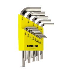 Bondhus Hex End Short Arm L-Wrench SAE 13pc Set (HLX13SB) Chrome finish