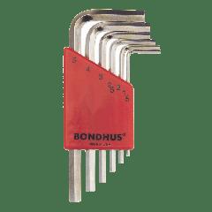 Bondhus Hex End Short Arm L-Wrench Metric 6pc Set (HLX6MSB) Chrome finish