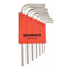 Bondhus Hex End Short Arm L-Wrench Metric 7pc Set (HLX7MSB) Chrome finish