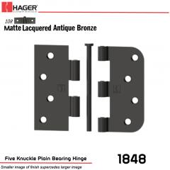 Hager 1848 US10R Full Mortise Hinge Stock No 042019
