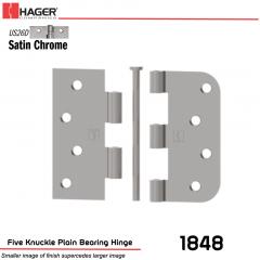 Hager 1848 US26D Full Mortise Hinge Stock No 068734