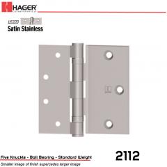 Hager 2112 4.5 US32D Half Surface Hinge Stock No 012833