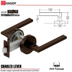 Hager 2310 Charles Lever Tubular Lockset US10B Stock No 169747