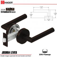 Hager 2310 Joshua Lever Tubular Lockset US10B Stock No 169469