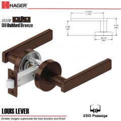 Hager 2310 Louis Lever Tubular Lockset US10B Stock No 169744