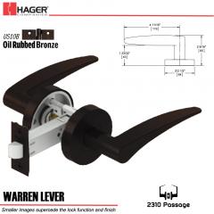 Hager 2310 Warren Lever Tubular Lockset US10B Stock No 169741
