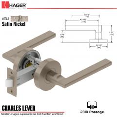 Hager 2310 Charles Lever Tubular Lockset US15 Stock No 169722
