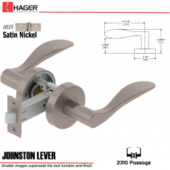 Hager 2310 Johnston Lever Tubular Lockset US15 Stock No 169701