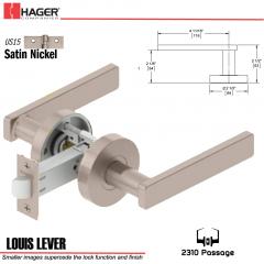 Hager 2310 Louis Lever Tubular Lockset US15 Stock No 169716