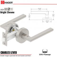 Hager 2310 Charles Lever Tubular Lockset US26 Stock No 193500