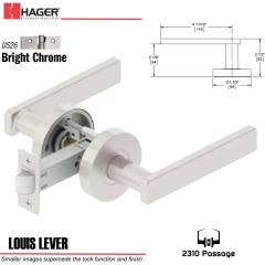 Hager 2310 Louis Lever Tubular Lockset US26 Stock No 169743