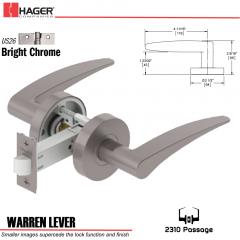 Hager 2310 Warren Lever Tubular Lockset US26 Stock No 169740