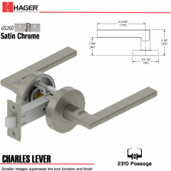 Hager 2310 Charles Lever Tubular Lockset US26D Stock No 121132