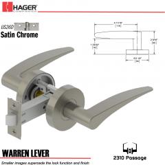Hager 2310 Warren Lever Tubular Lockset US26D Stock No 169622
