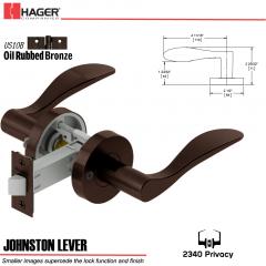 Hager 2340 Johnston Lever Tubular Lockset US10B Stock No 178649
