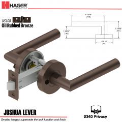 Hager 2340 Joshua Lever Tubular Lockset US10B Stock No 169471