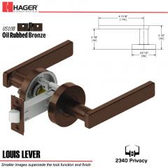 Hager 2340 Louis Lever Tubular Lockset US10B Stock No 169825