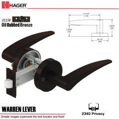 Hager 2340 Warren Lever Tubular Lockset US10B Stock No 169822
