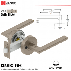 Hager 2340 Charles Lever Tubular Lockset US15 Stock No 169732
