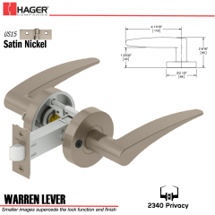 Hager 2340 Warren Lever Tubular Lockset US15 Stock No 169711
