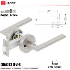 Hager 2340 Charles Lever Tubular Lockset US26 Stock No 193499