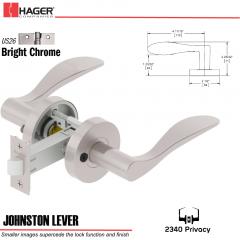 Hager 2340 Johnston Lever Tubular Lockset US26 Stock No 169818
