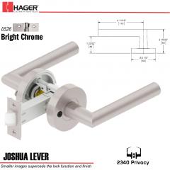 Hager 2340 Joshua Lever Tubular Lockset US26 Stock No 169700
