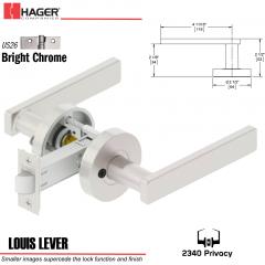 Hager 2340 Louis Lever Tubular Lockset US26 Stock No 169824