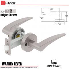 Hager 2340 Warren Lever Tubular Lockset US26 Stock No 169821