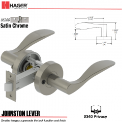 Hager 2340 Johnston Lever Tubular Lockset US26D Stock No 169619