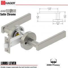 Hager 2340 Louis Lever Tubular Lockset US26D Stock No 169729