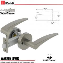 Hager 2340 Warren Lever Tubular Lockset US26D Stock No 169682