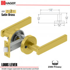 Hager 2340 Louis Lever Tubular Lockset US4 Stock No 169823